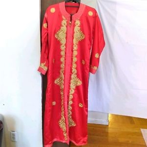 Moroccan Kaftan authentic red & gold w/belt